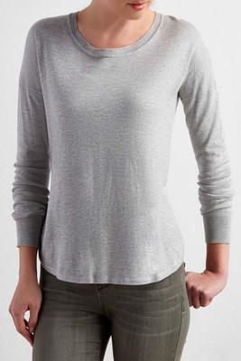 slit high-low pullover sweater