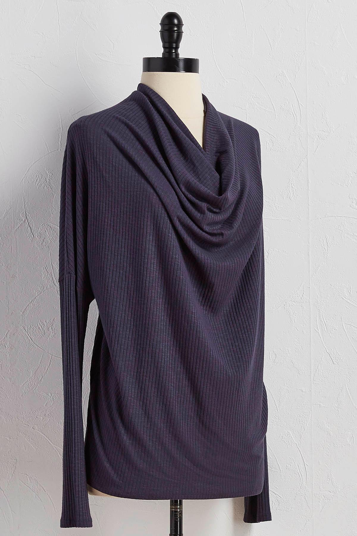 Ribbed Cowl Neck Dolman Top