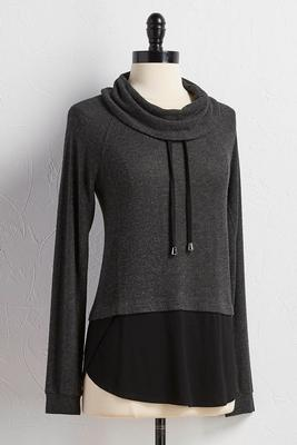 drawstring cowl neck layered top
