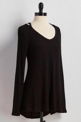 waffle knit cutout neck tunic