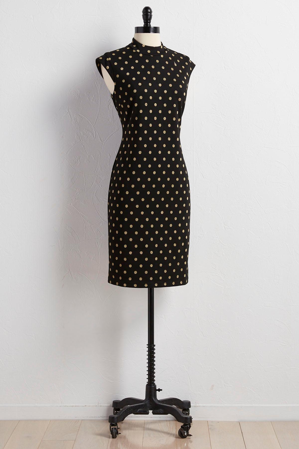 Metallic Polka Dot Sheath Sweater Dress