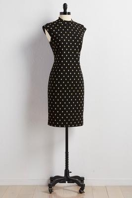 metallic polka dot sheath sweater dress
