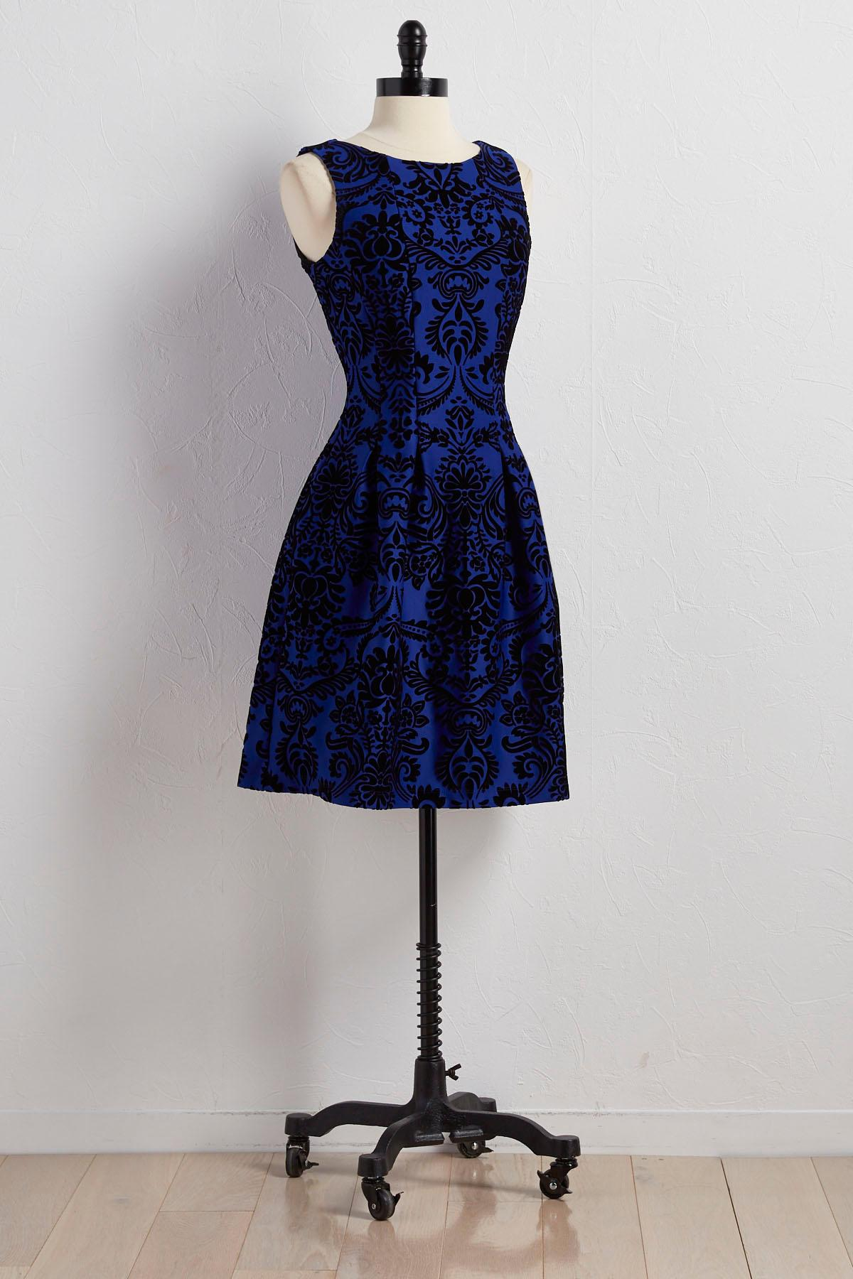 Flocked Scroll Fit And Flare Dress