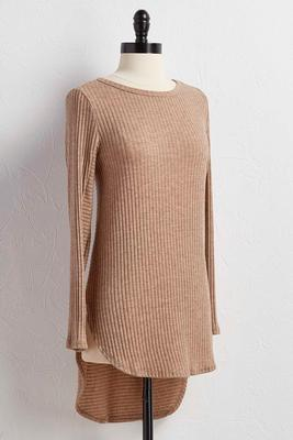ribbed high-low tunic
