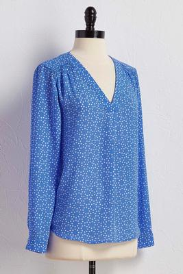 smocked shoulder polka dot top