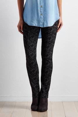 baroque flocked leggings