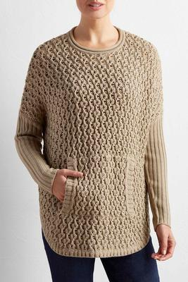 ribbed sleeve kangaroo pocket sweater