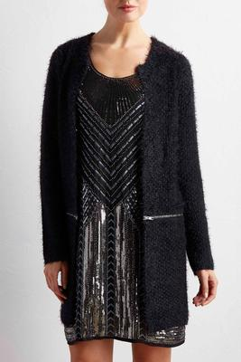 zipper trim eyelash knit cardigan