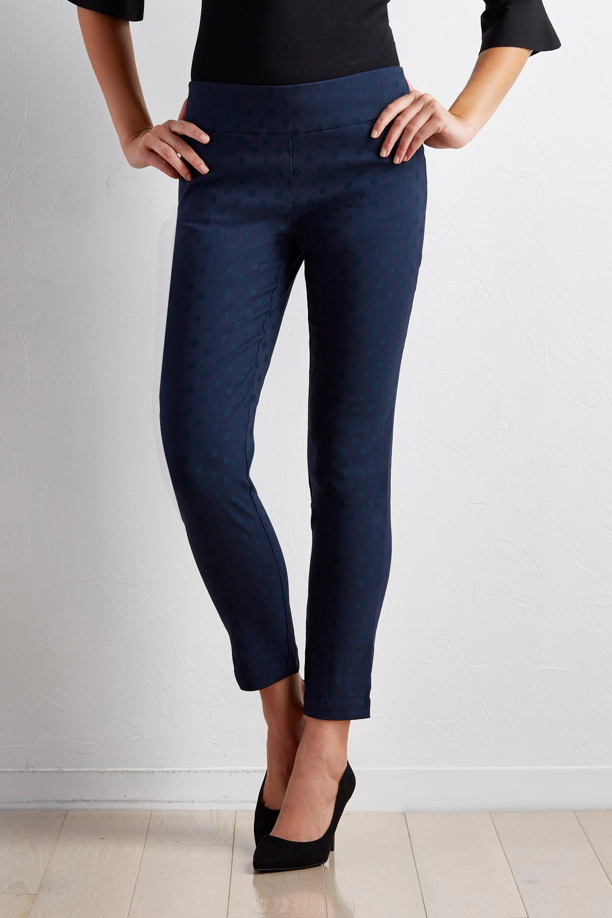 Tonal Polka Dot Slim Leg Pants