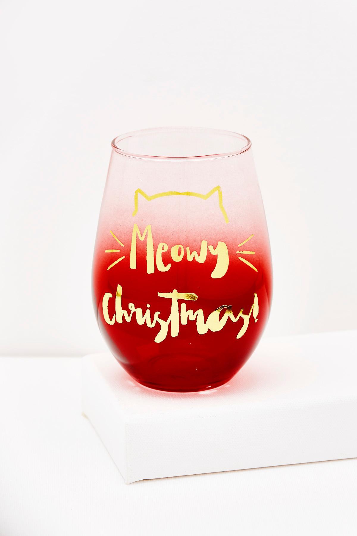 Meowy Christmas Stemless Wine Glass