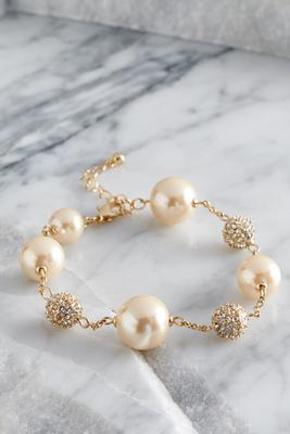 Pearl and fireball link bracelet