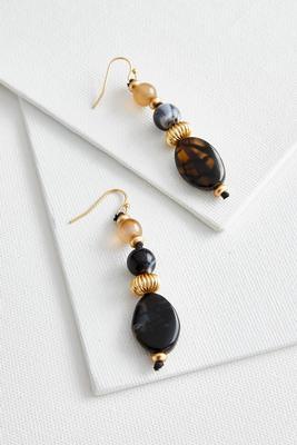 beaded semi-precious dangle earrings