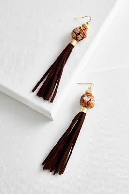 semi-precious bead tassel earrings