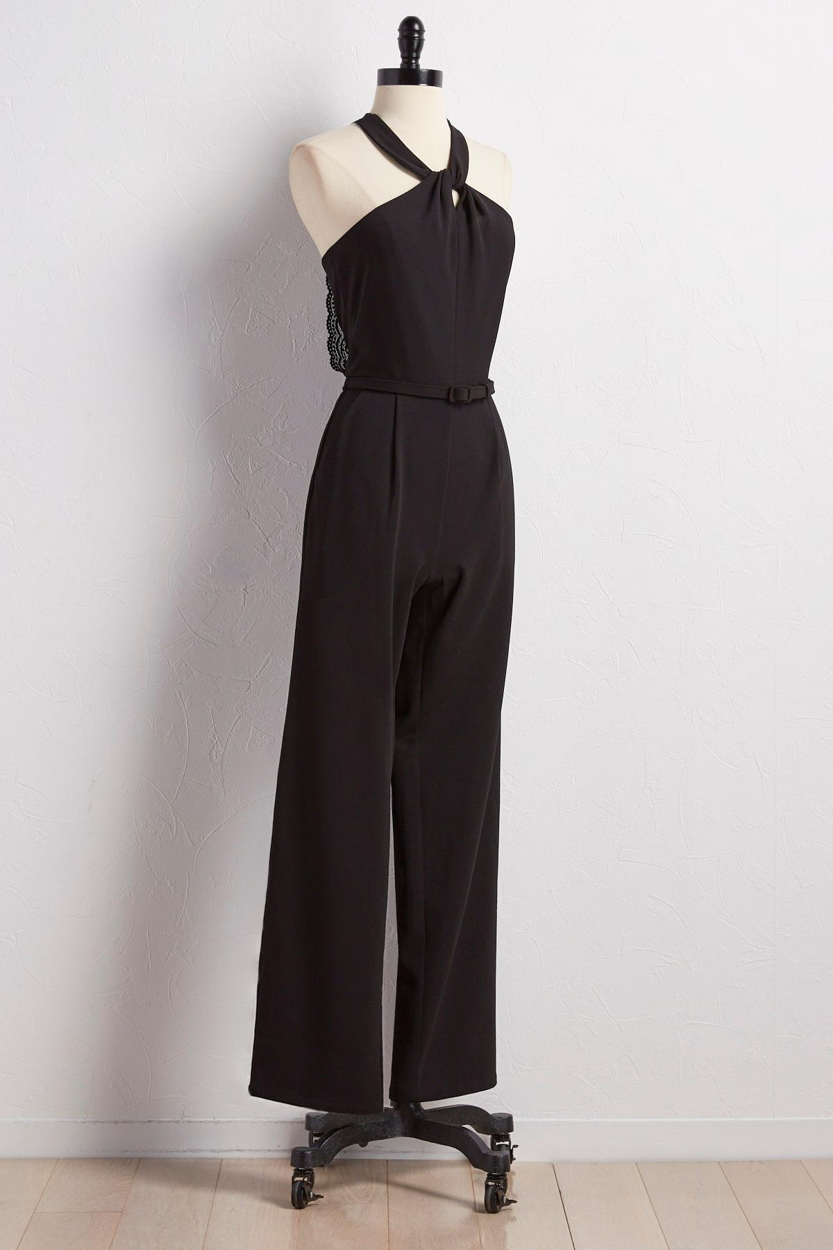 Belted Knot Front Cleo Neck Jumpsuit