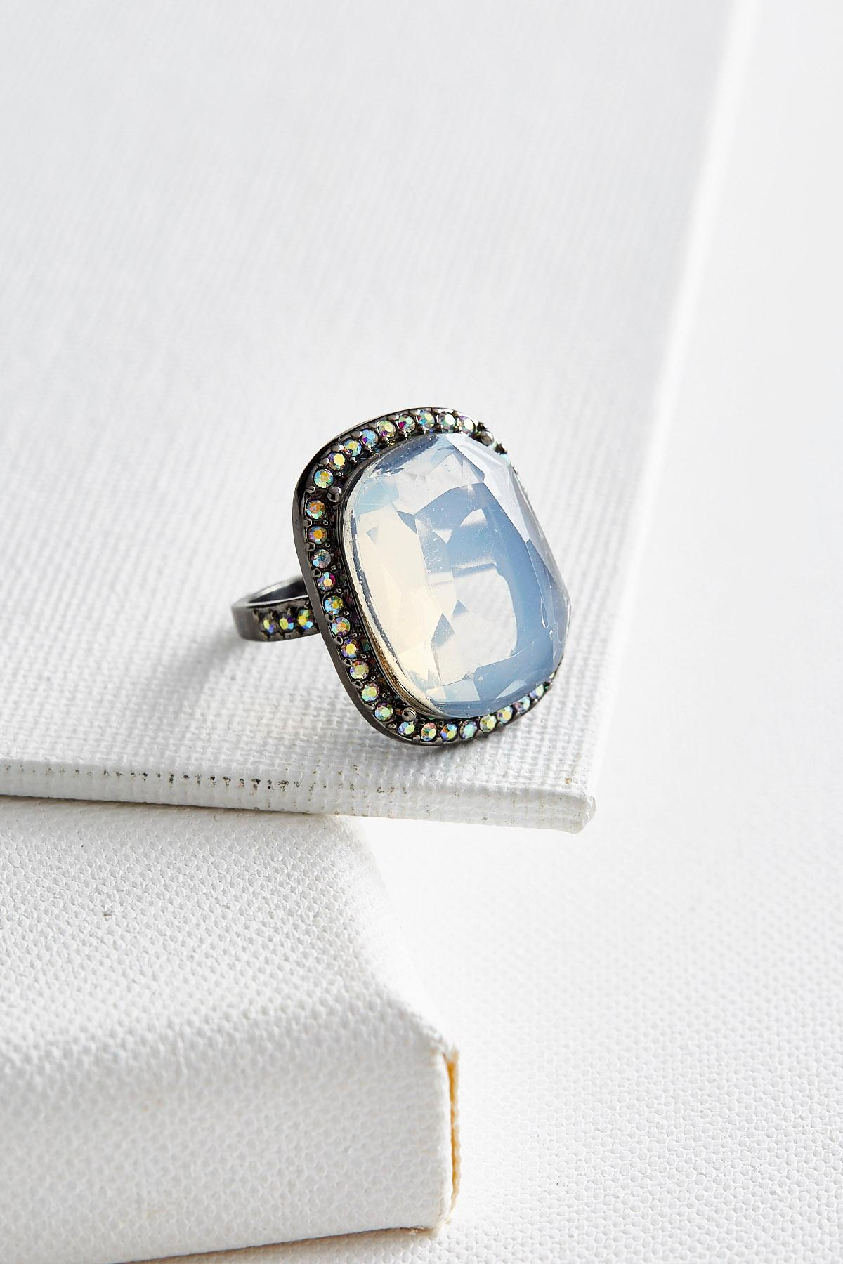 Pave Bordered Stone Ring