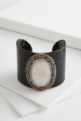 pave bordered semi-precious cuff bracelet