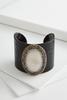 Pave Bordered Semi- Precious Cuff Bracelet