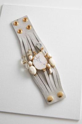 speckled semi-precious stone wrap bracelet