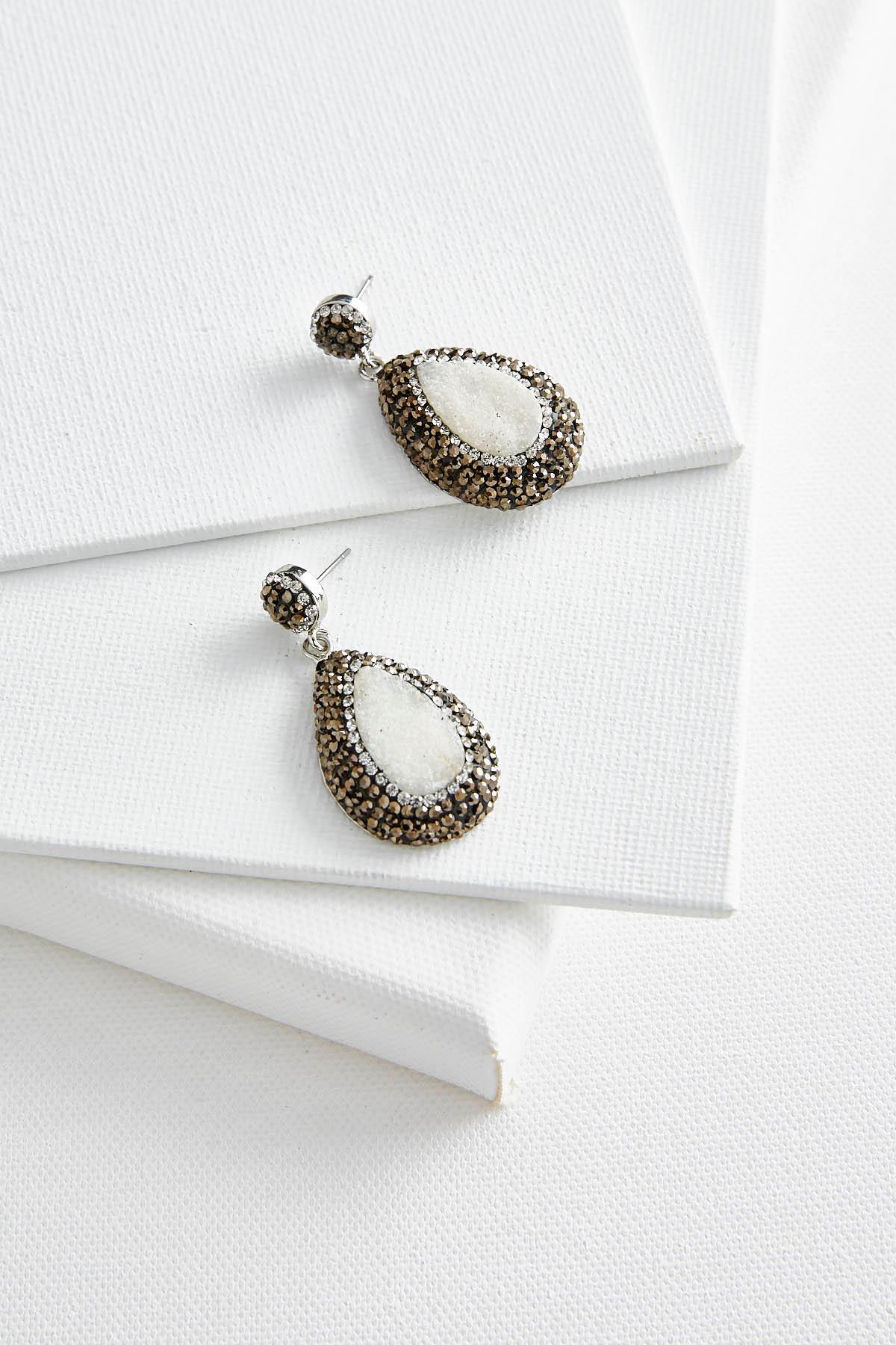 Pave Bordered Semi- Precious Earrings