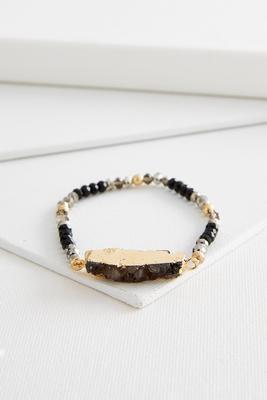 beaded druzy stone stretch bracelet
