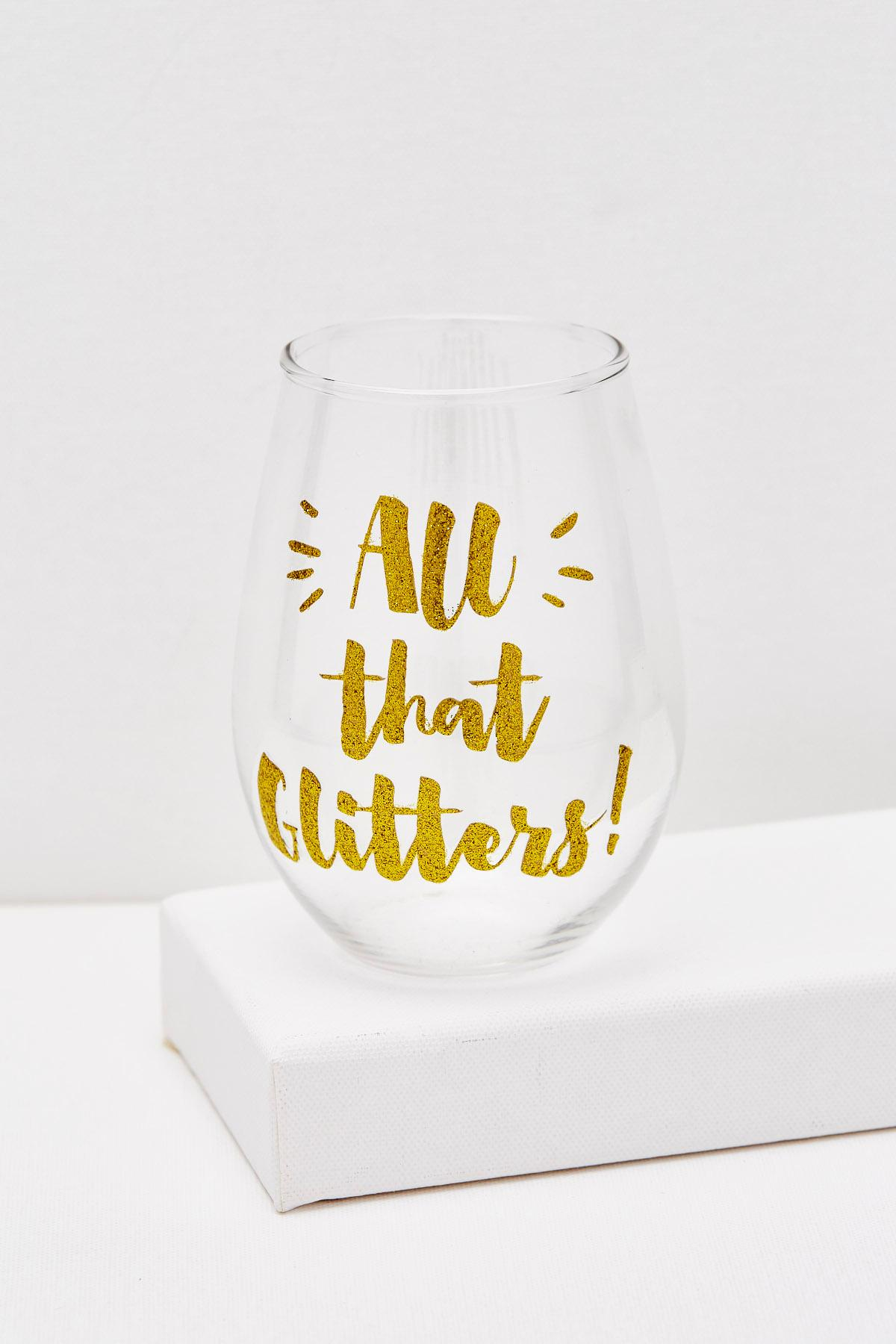 All That Glitters Stemless Wine Glass