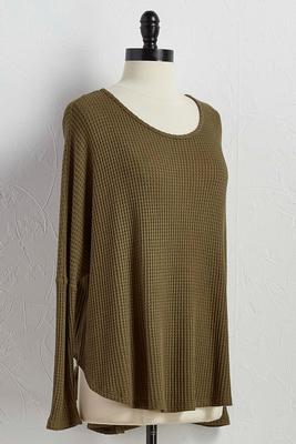 waffle knit dolman tunic