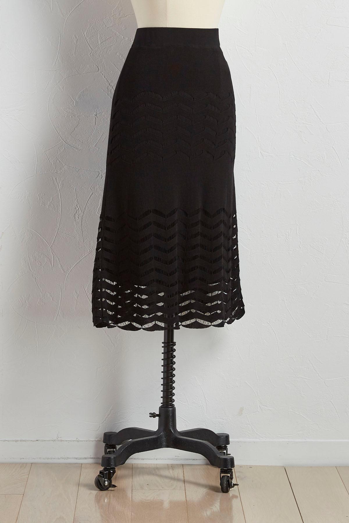 Pointelle Chevron Sweater Knit Skirt