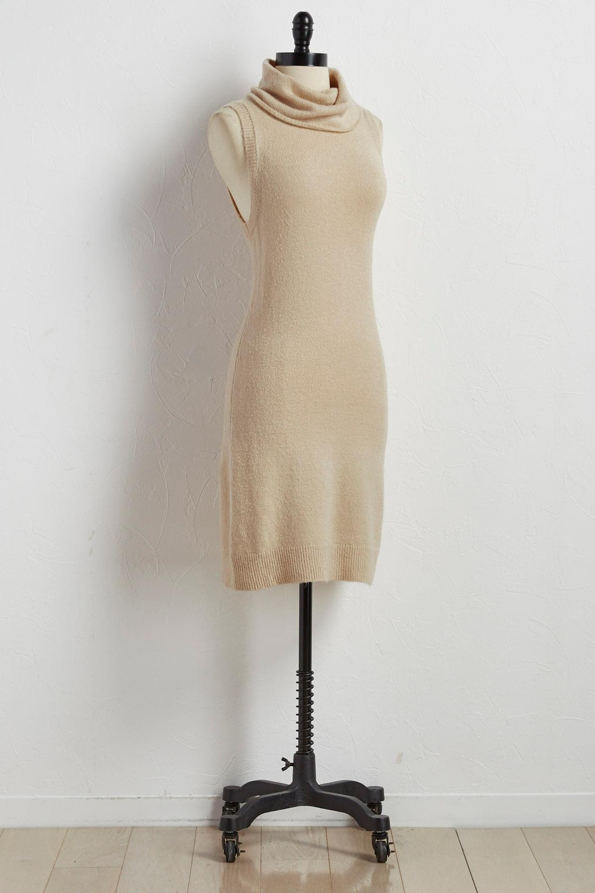 Turtleneck Sheath Sweater Dress