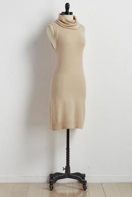 turtleneck sheath sweater dress