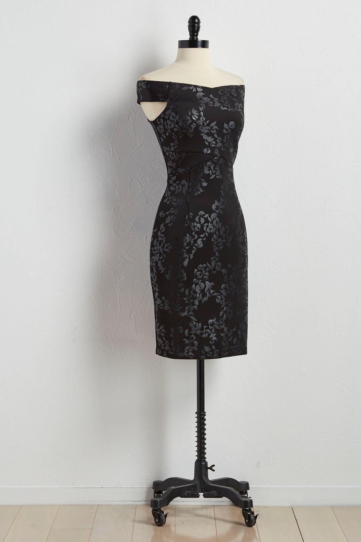 Tonal Leaf Off The Shoulder Sheath Dress