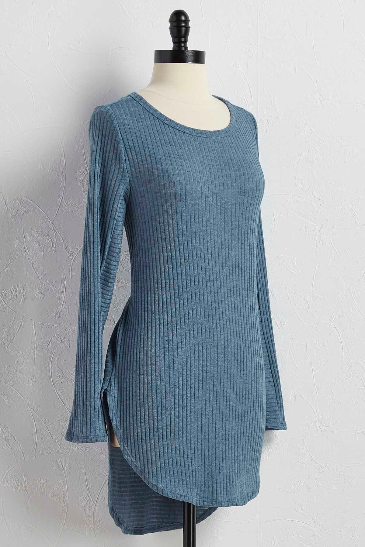 Ribbed High- Low Tunic