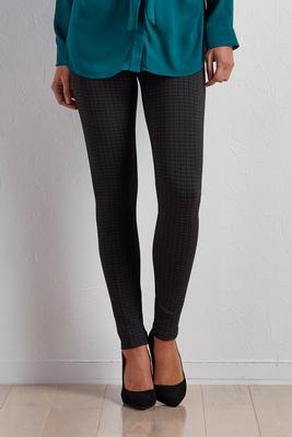 micro plaid ponte leggings