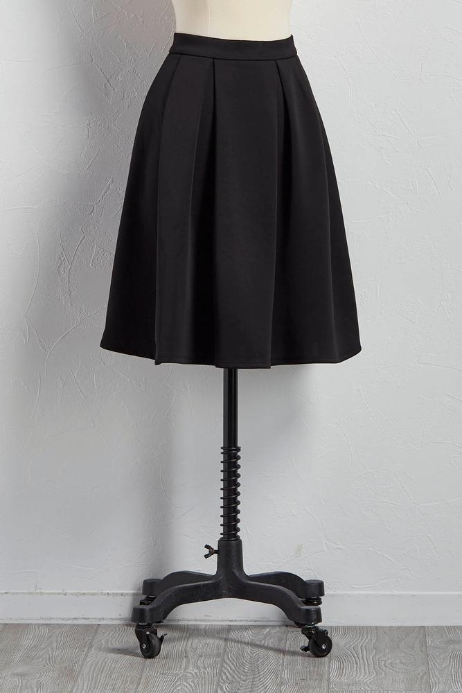 Pleated A- Line Midi Skirt