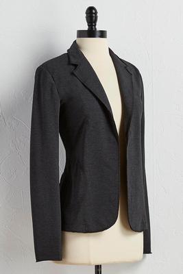 raw edge knit blazer