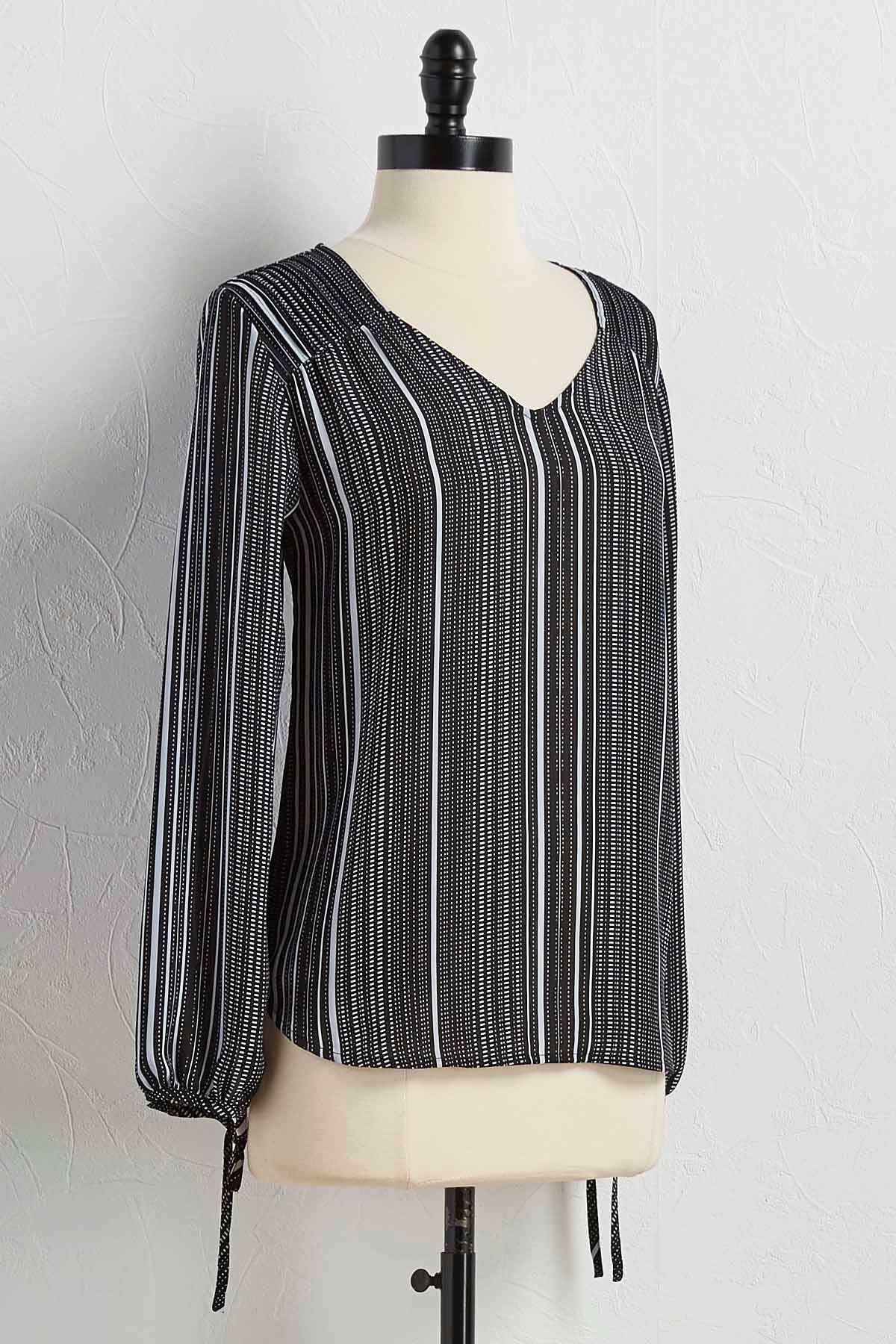Pleated Shoulder Graphic Stripe Top