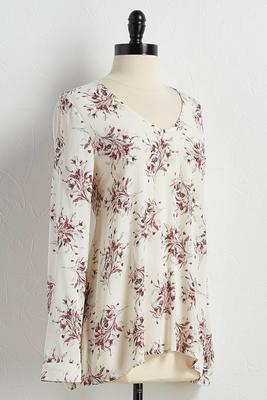 floral high-low poet top