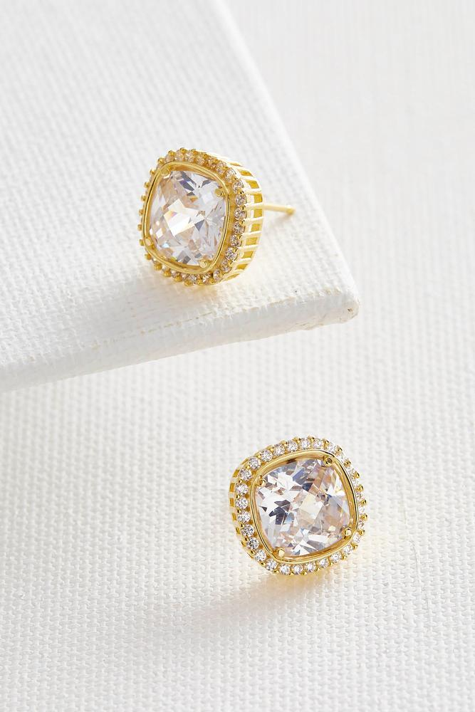 Haloed Cz Cushion Cut Stud Earrings