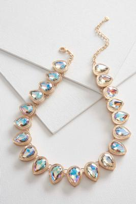 iridescent stone bib necklace