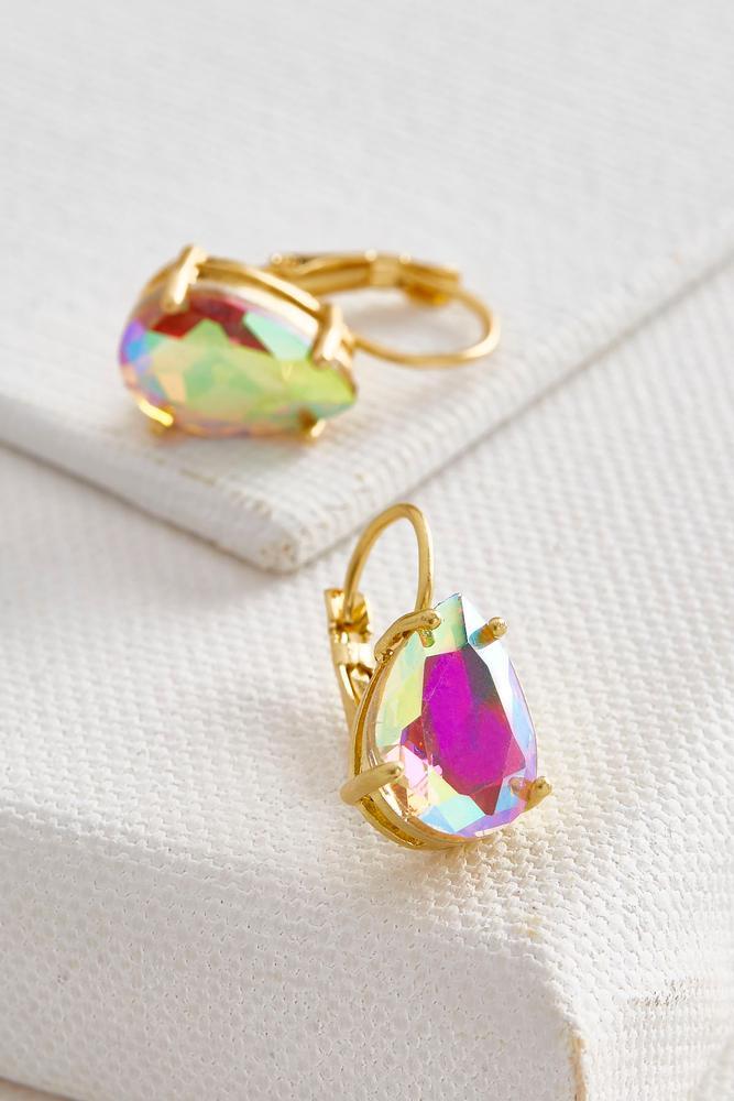 Iridescent Stone Lever Back Earrings
