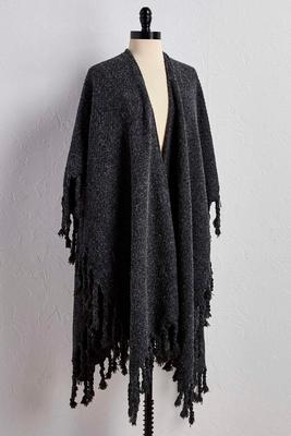 braided tassel eyelash knit wrap