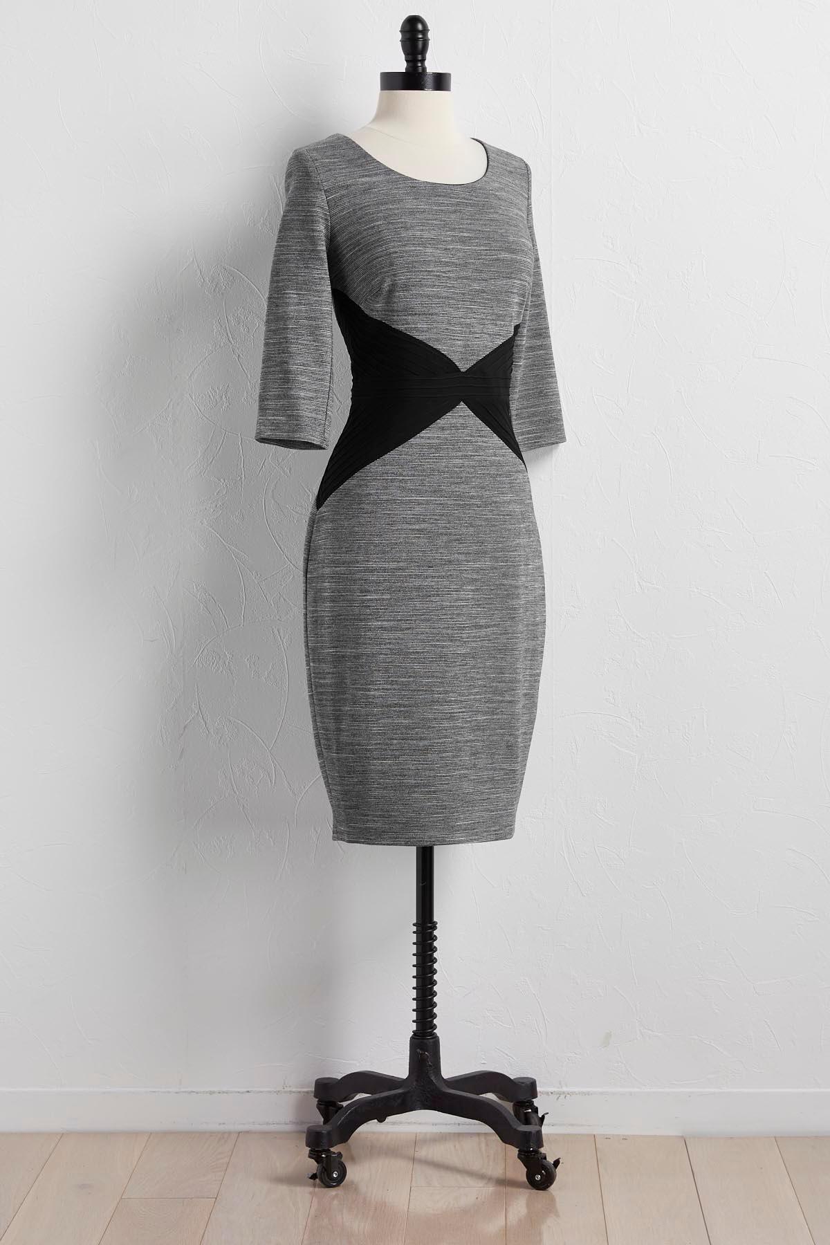 Colorblock Panel Ponte Sheath Dress