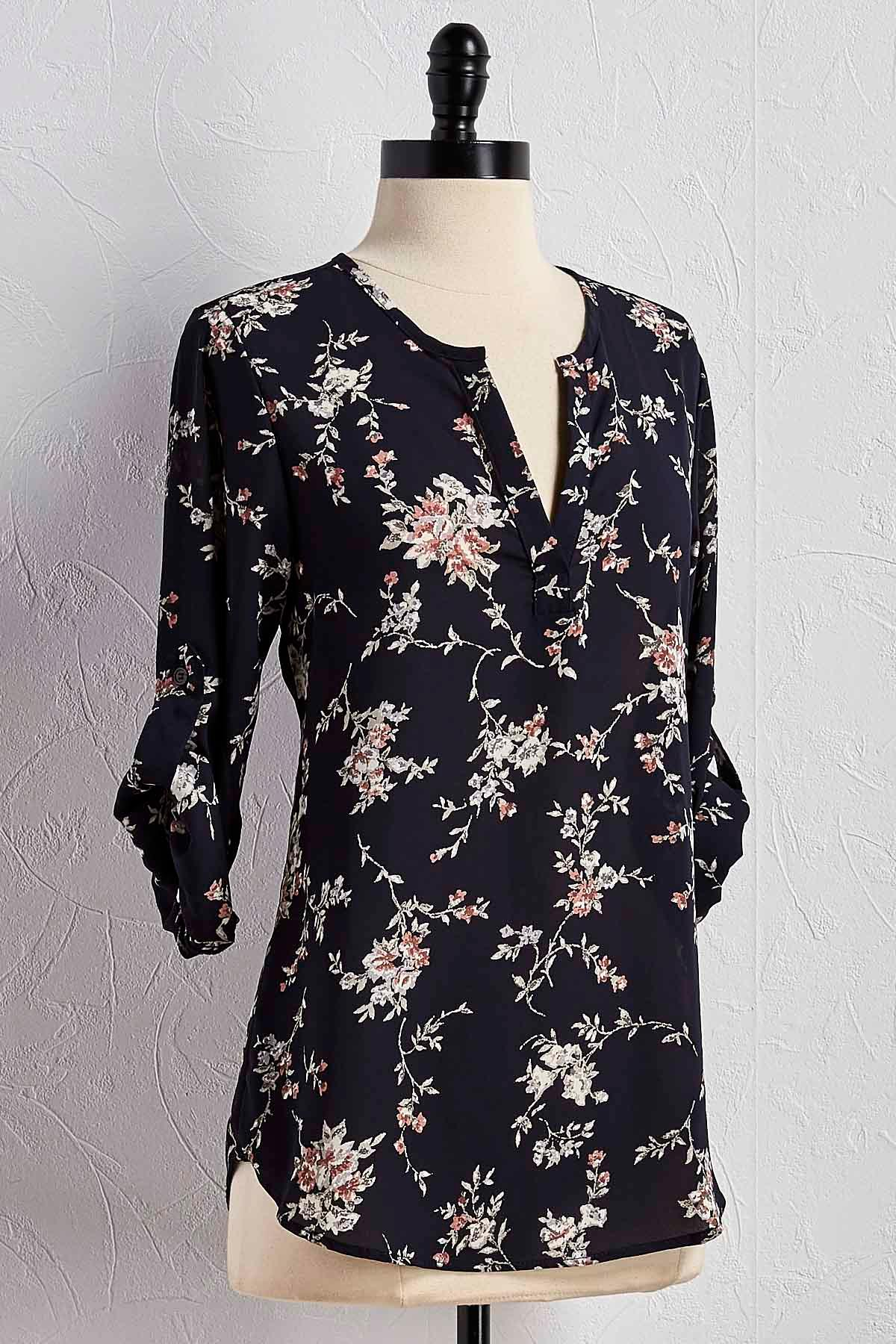 Floral High- Low Popover Top