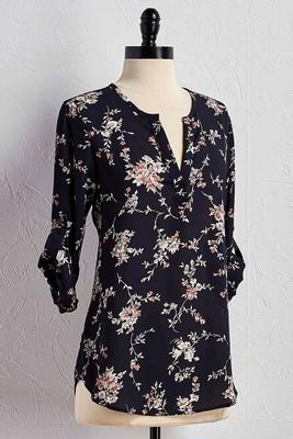 floral high-low popover top