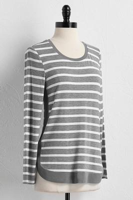 mesh trim striped knit top