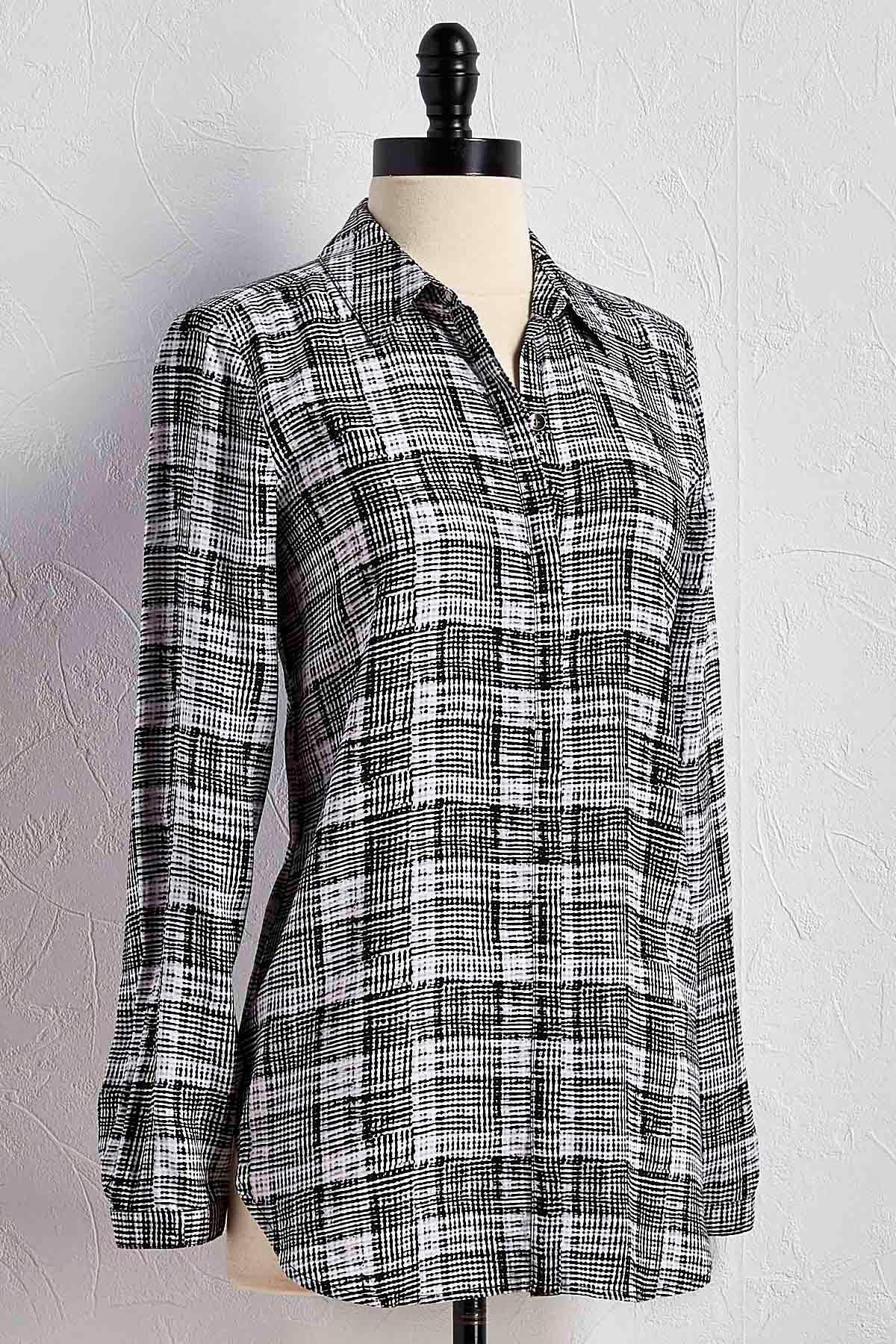 Graphic Grid Plaid Button Down Shirt