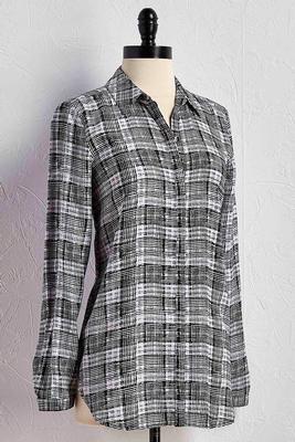 graphic grid plaid button down shirt