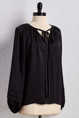 crushed satin tie neck poet top