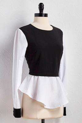 mock layered peplum top