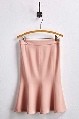 ponte knit flounced skirt