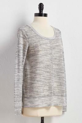 ribbed trim seamed knit top